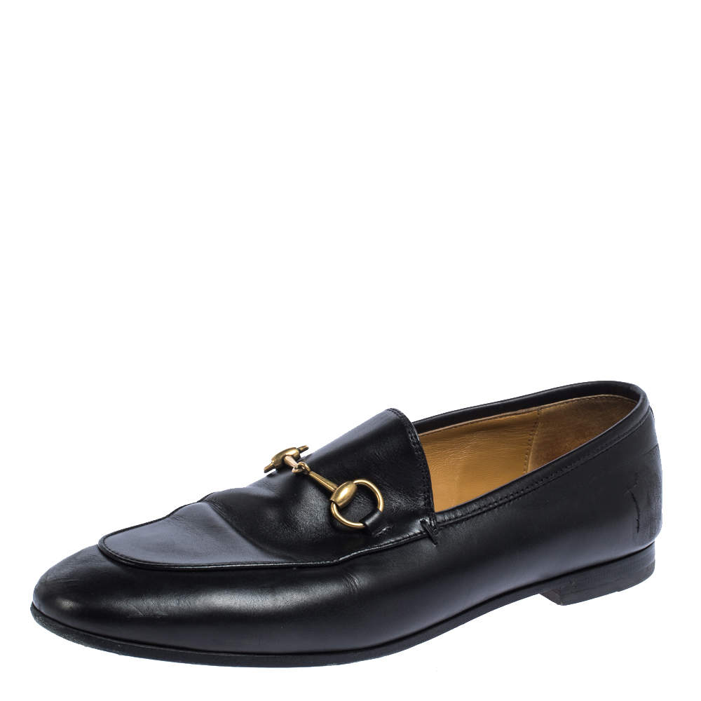Gucci Black Leather Betis Glamour Loafers Size 38