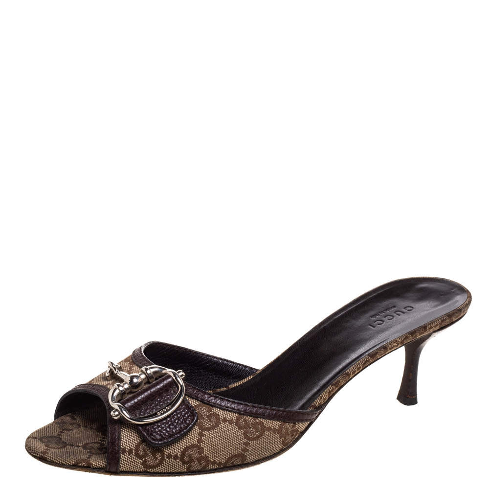 Gucci Beige/Brown GG Canvas And Leather 'Icon Bit' Slide Sandals Size 39.5