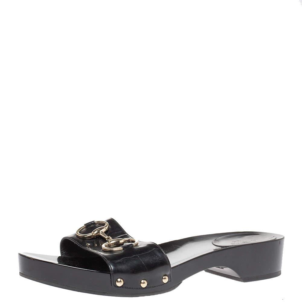 Gucci Black Patent Leather Horsebit Platform Clog Sandals Size 40