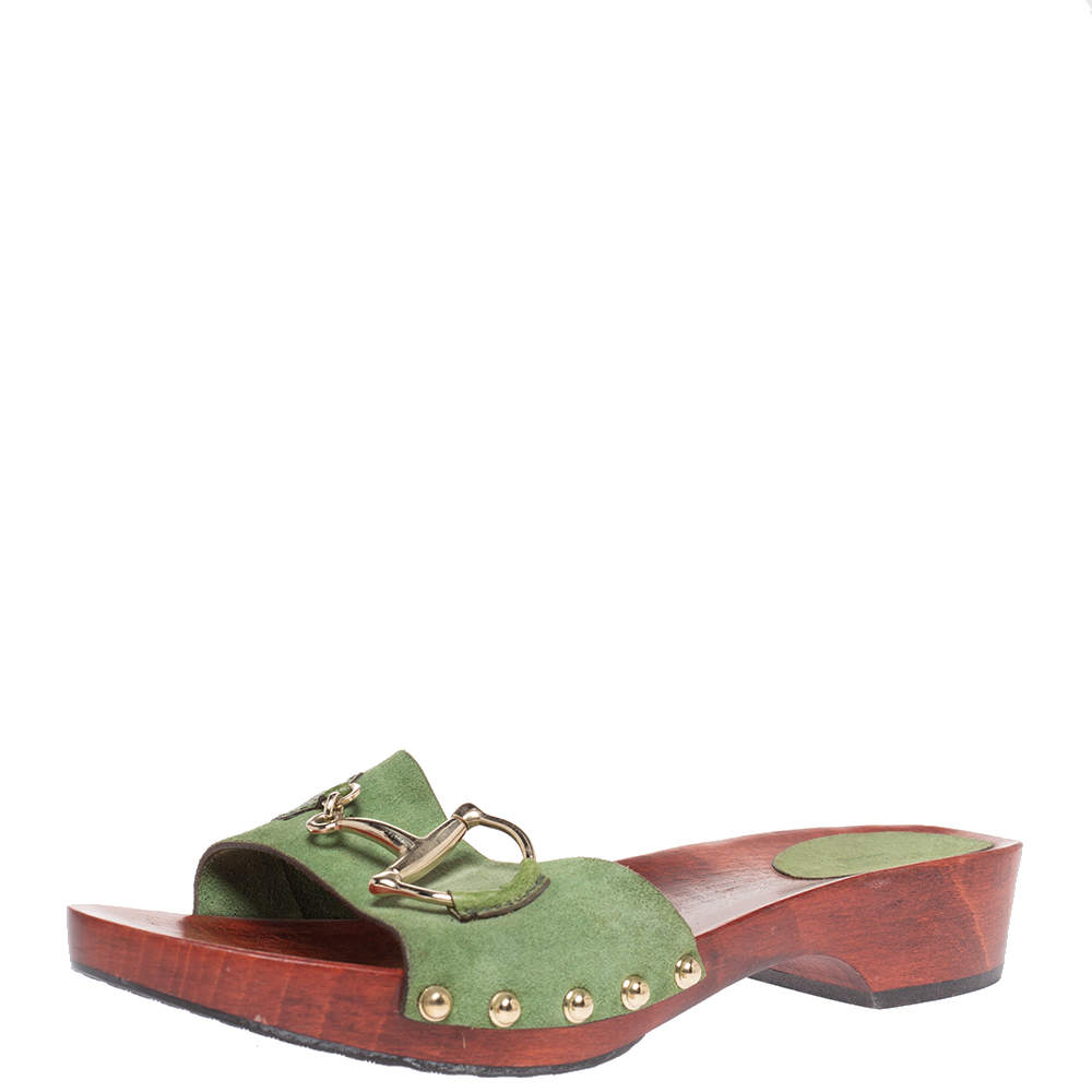 Gucci Green Suede And Leather Icon Bit Clogs Size 40.5
