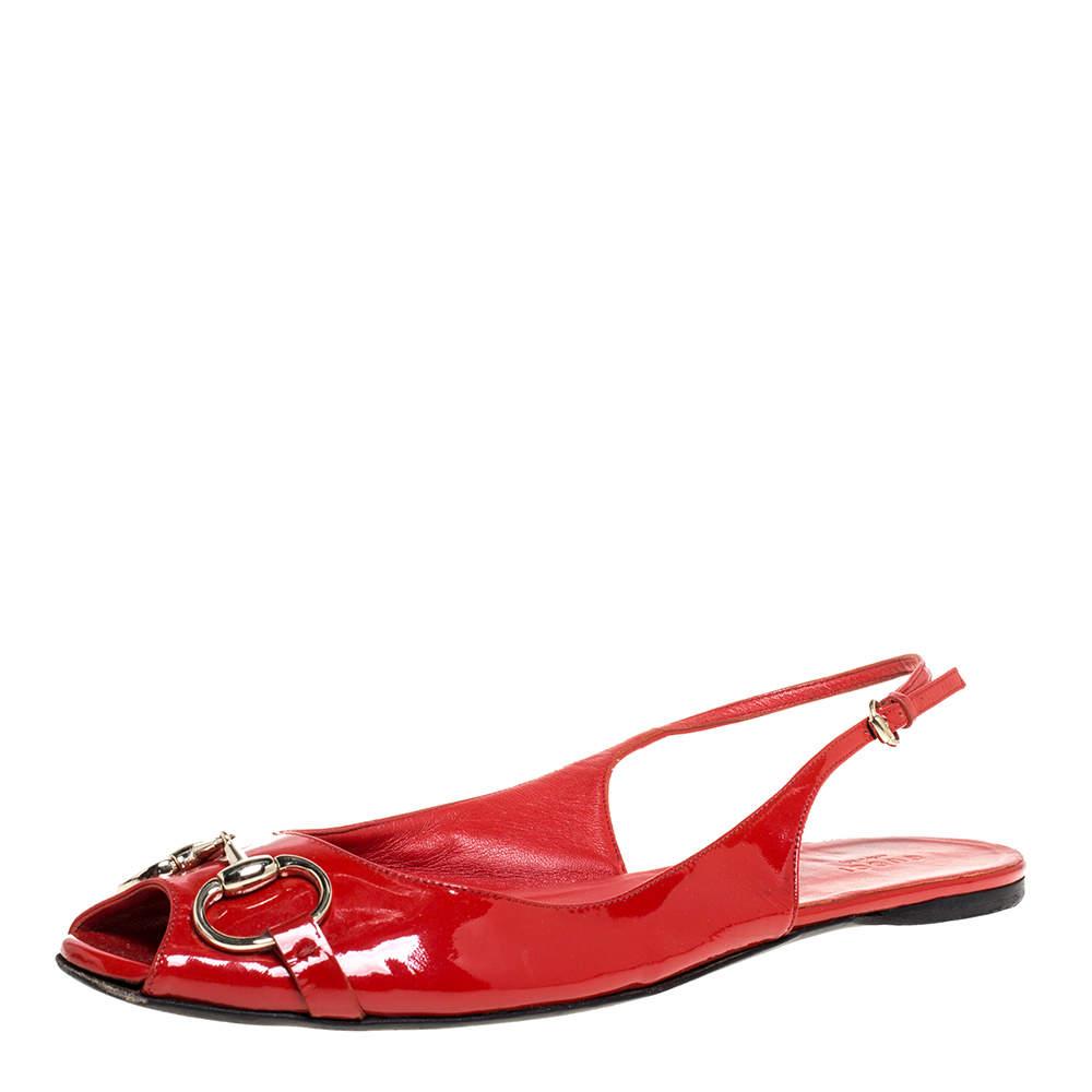 Gucci Red Patent Leather Horsebit Slingback Flat Sandals Size 41