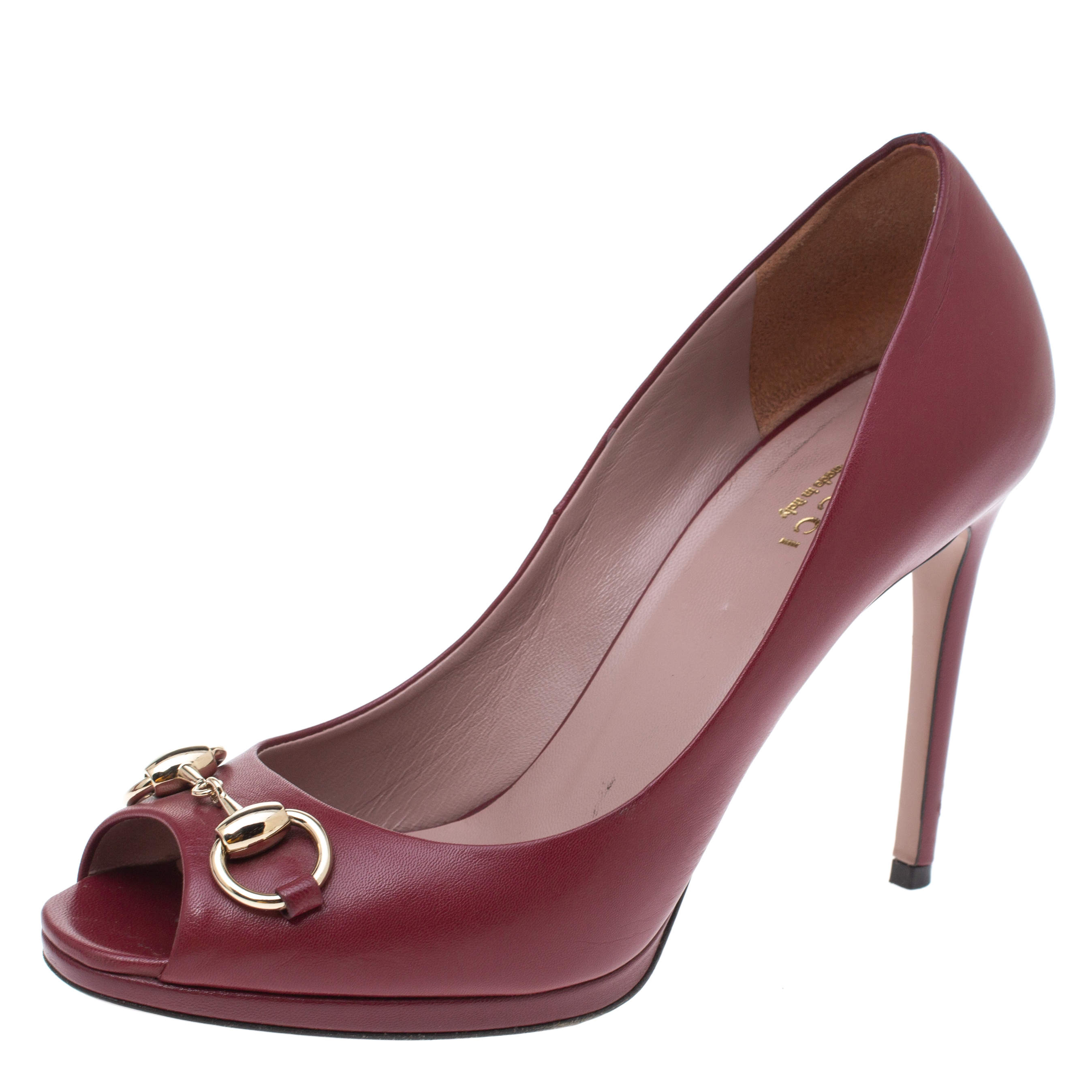 Gucci Burgundy Leather New Hollywood Horsebit Peep Toe Pumps Size 37