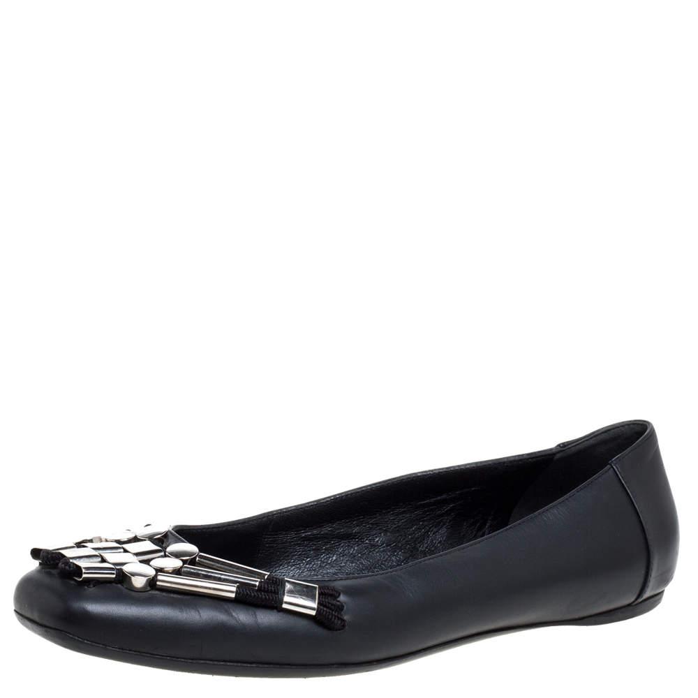 Gucci Black Leather Embellished Ballet Flats Size 37.5