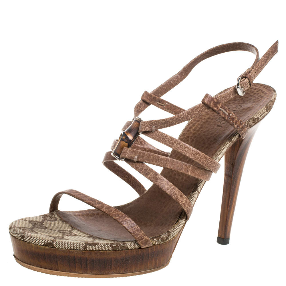 Gucci Brown Leather Bamboo Strappy Platform Sandals Size 38