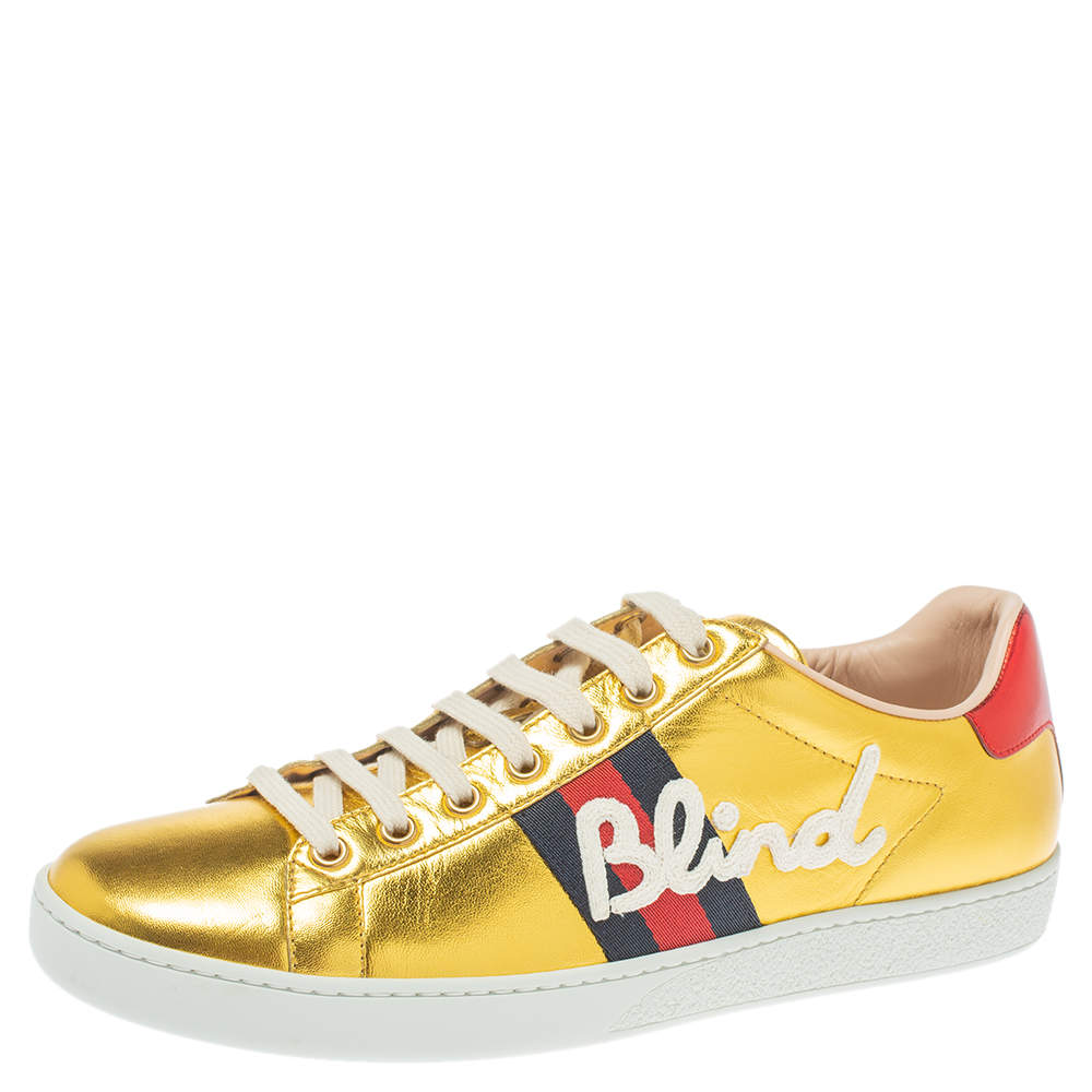 Gucci Metallic Gold Ace Blind For Love Lace Up Sneakers Size 40