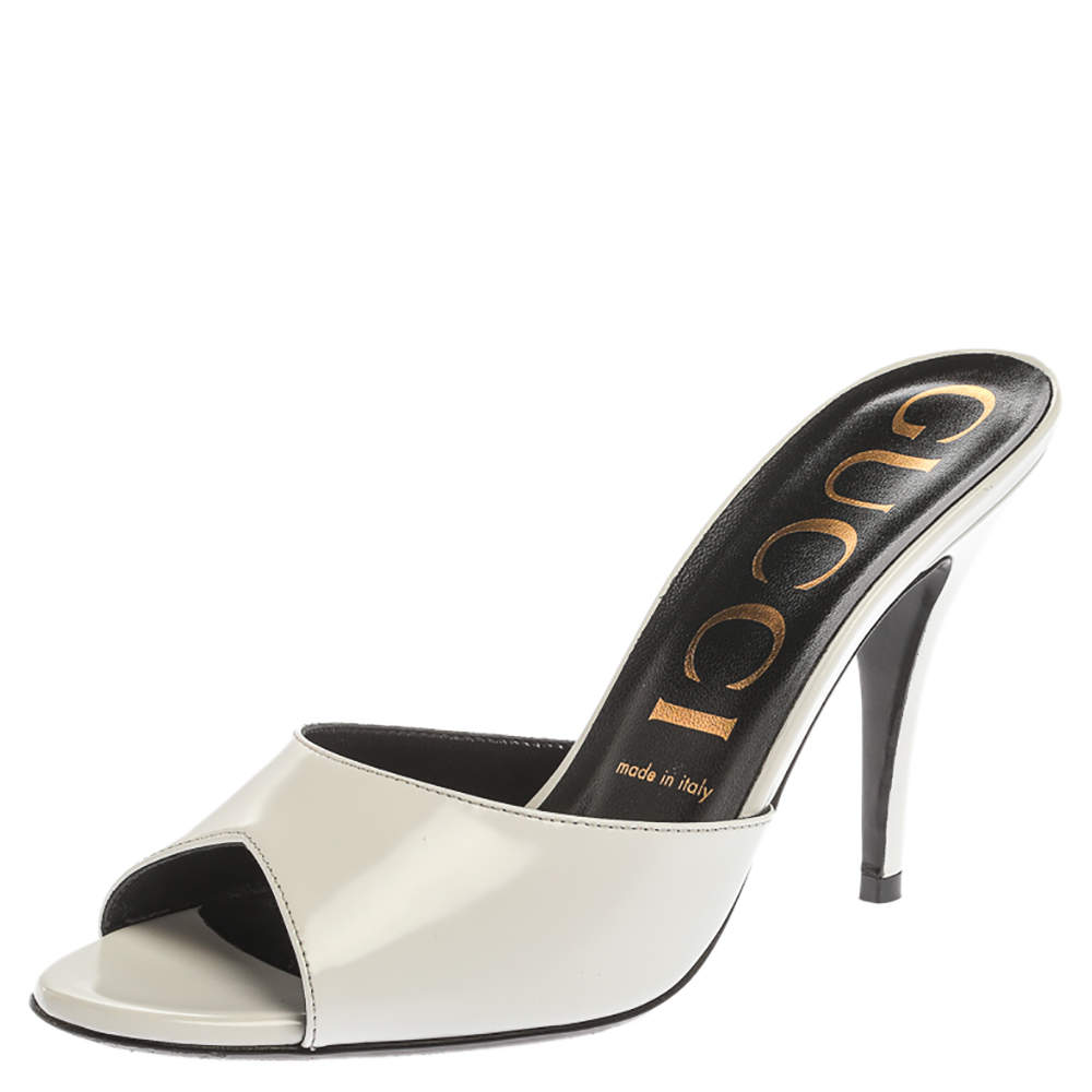 Gucci White Leather Heeled Slide Sandals Size 38