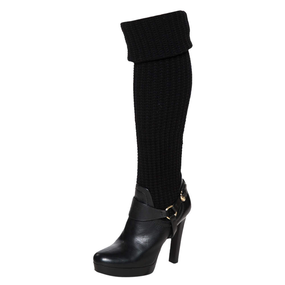 Gucci Black Leather And Wool Fabric Aspen Over The Knee Boots Size 39