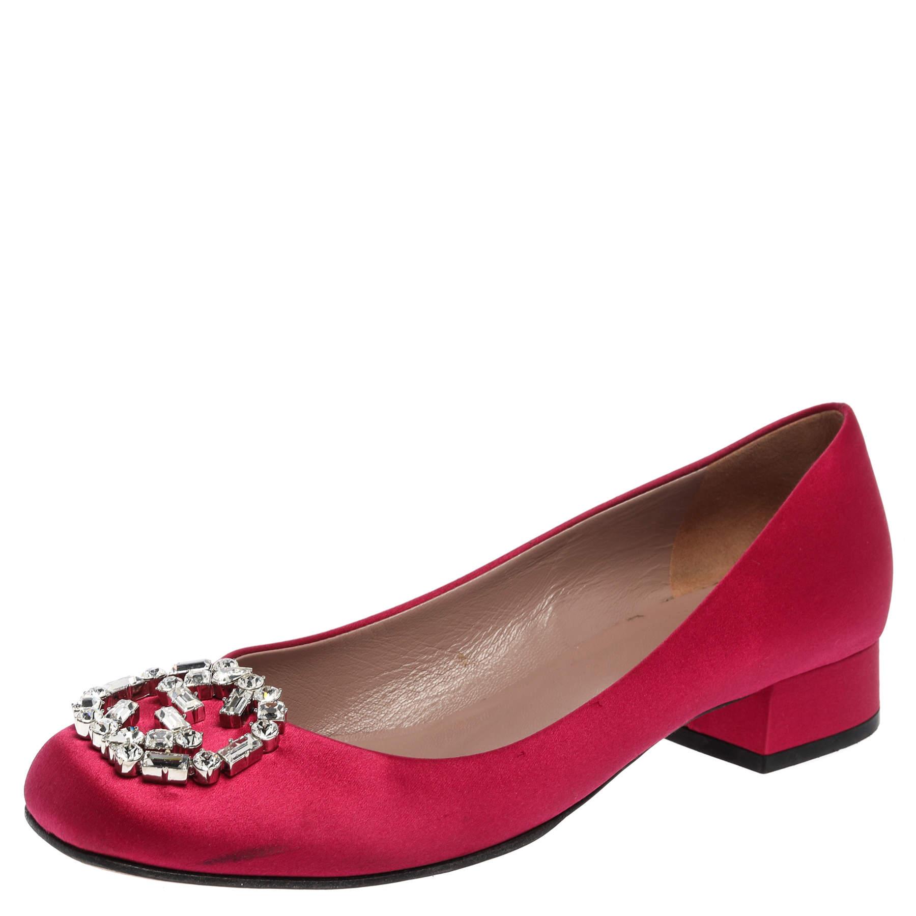 Gucci Pink Satin GG Crystal Embellished Block Heel Pumps Size 37.5