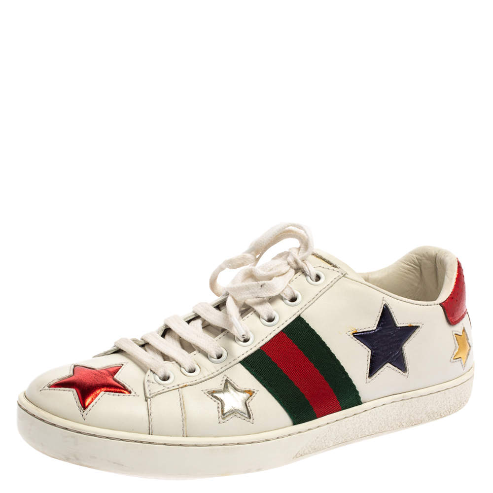 Gucci White Leather Ace Web Star Low Top Sneakers Size 37