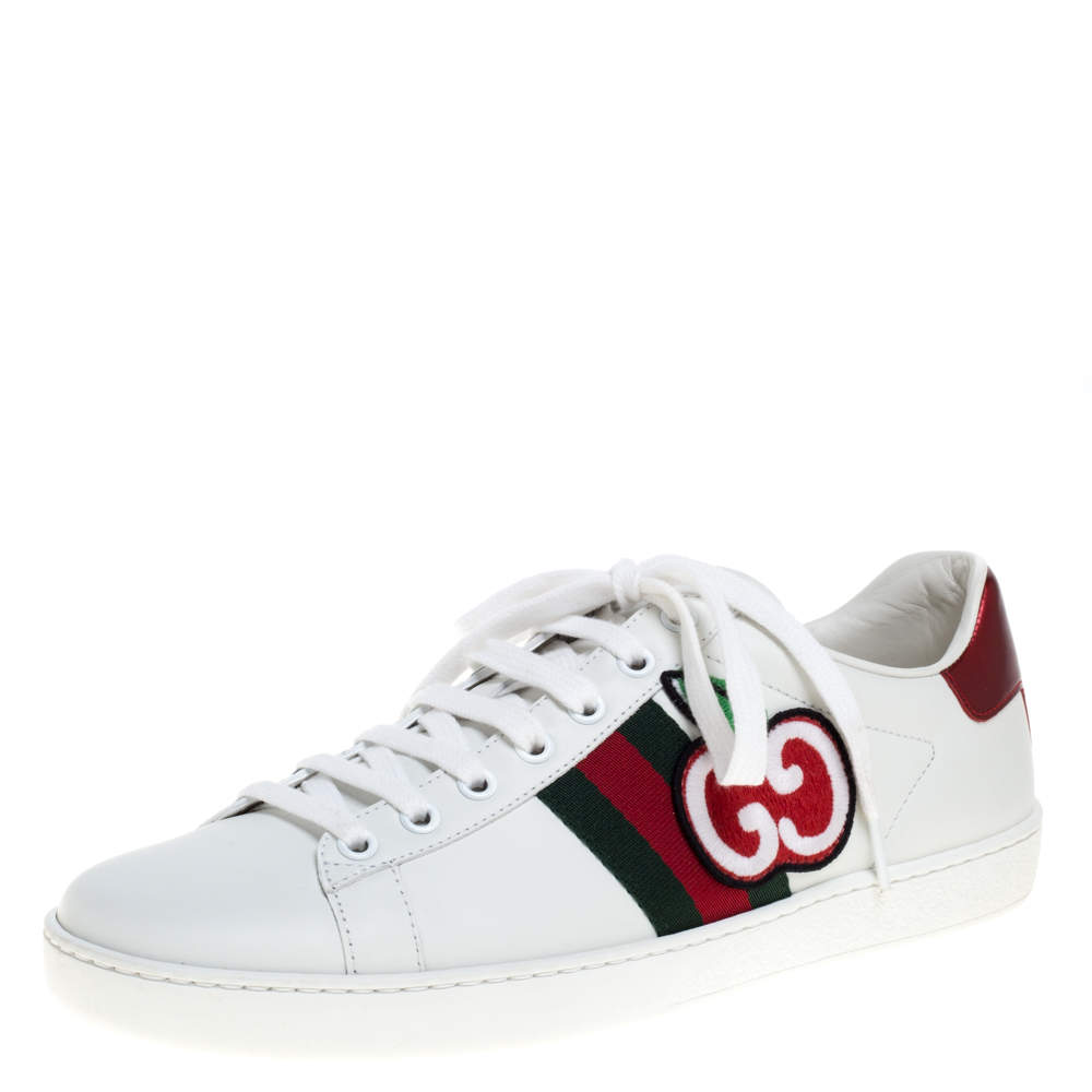 Gucci White Leather Ace GG Apple Web Low Top Sneakers Size 39.5