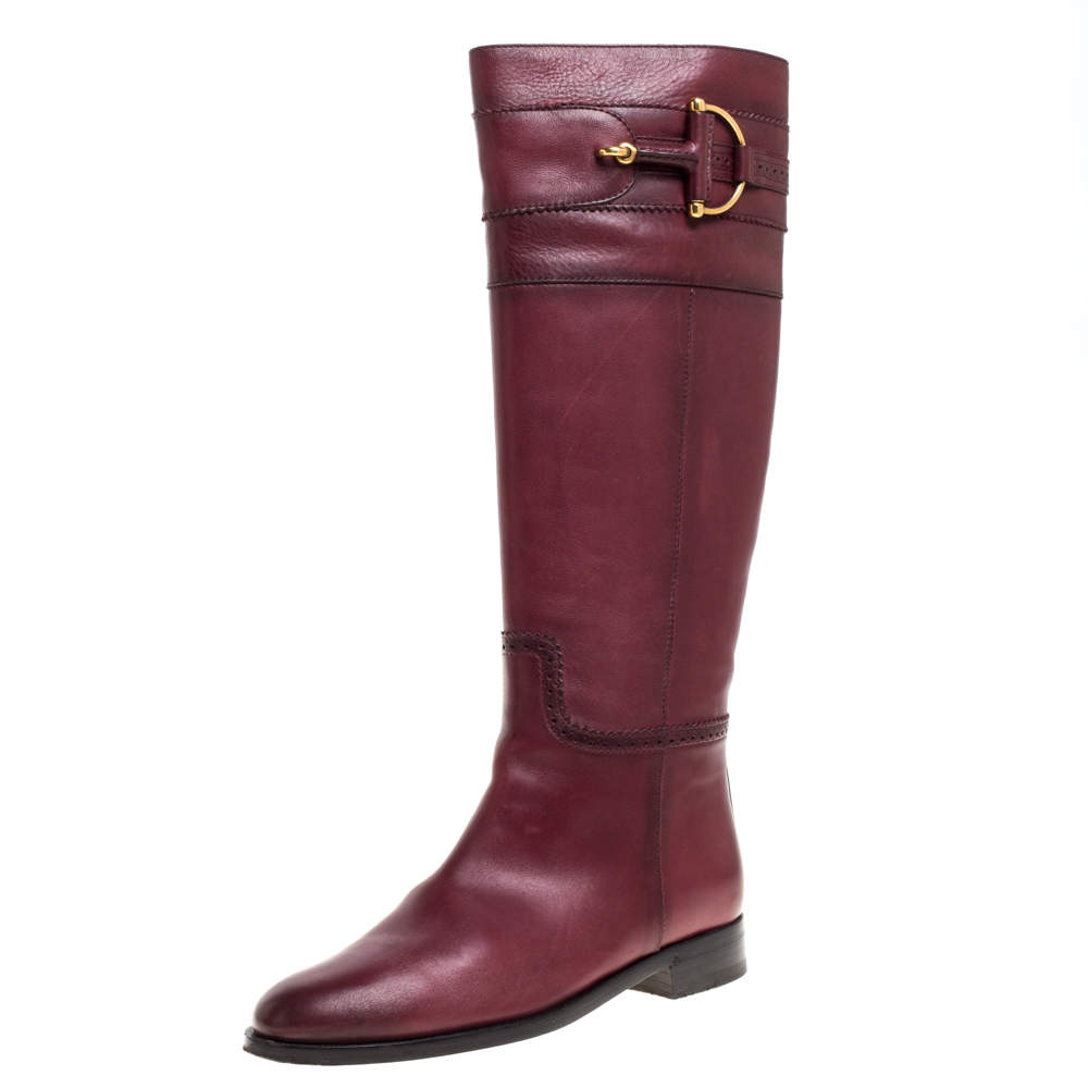 Gucci Red Leather Knee High Boots Size 37.5