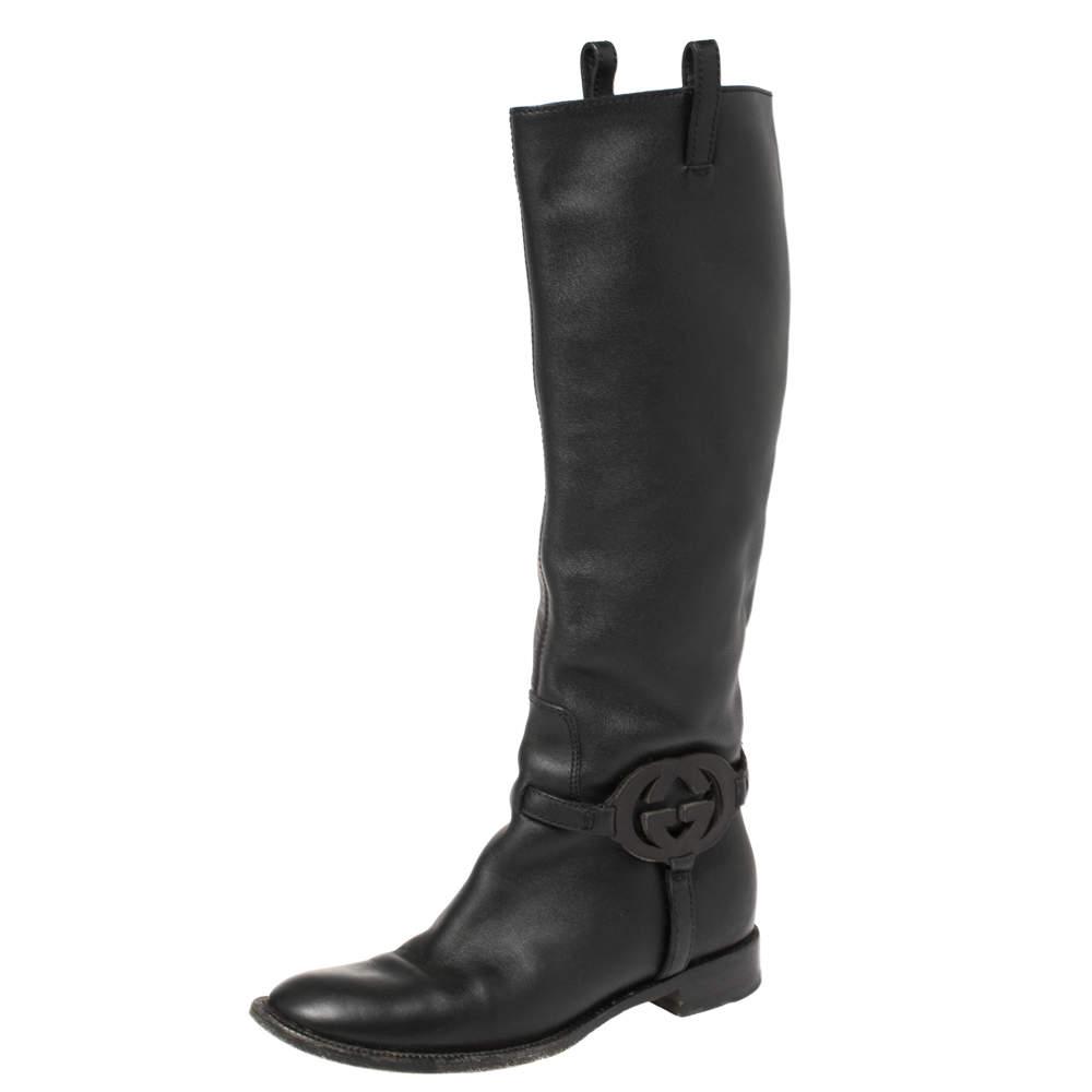 Gucci Black Leather Interlocking G Mid Calf Boots Size 35