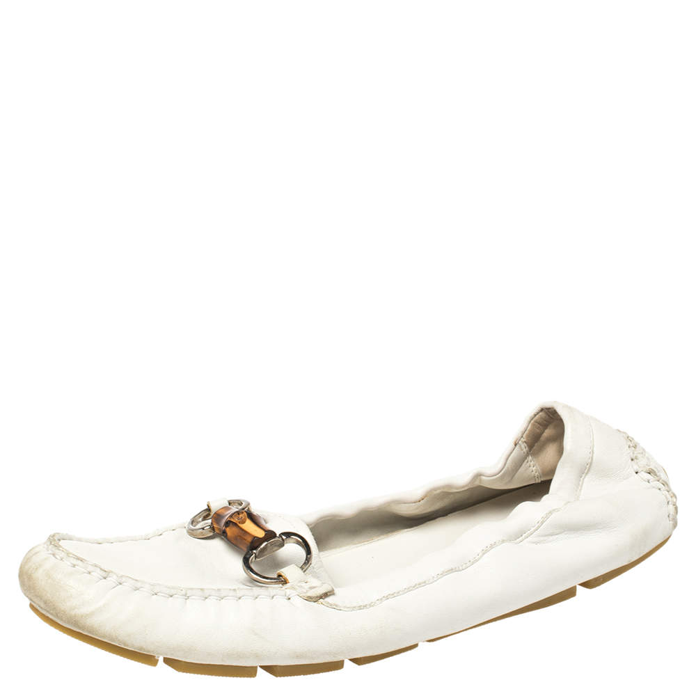 Gucci White Leather Bamboo Driving Loafers Size 40.5
