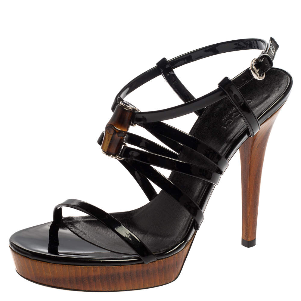 Gucci Black Patent Leather Bamboo Strappy Platform Sandals Size 36