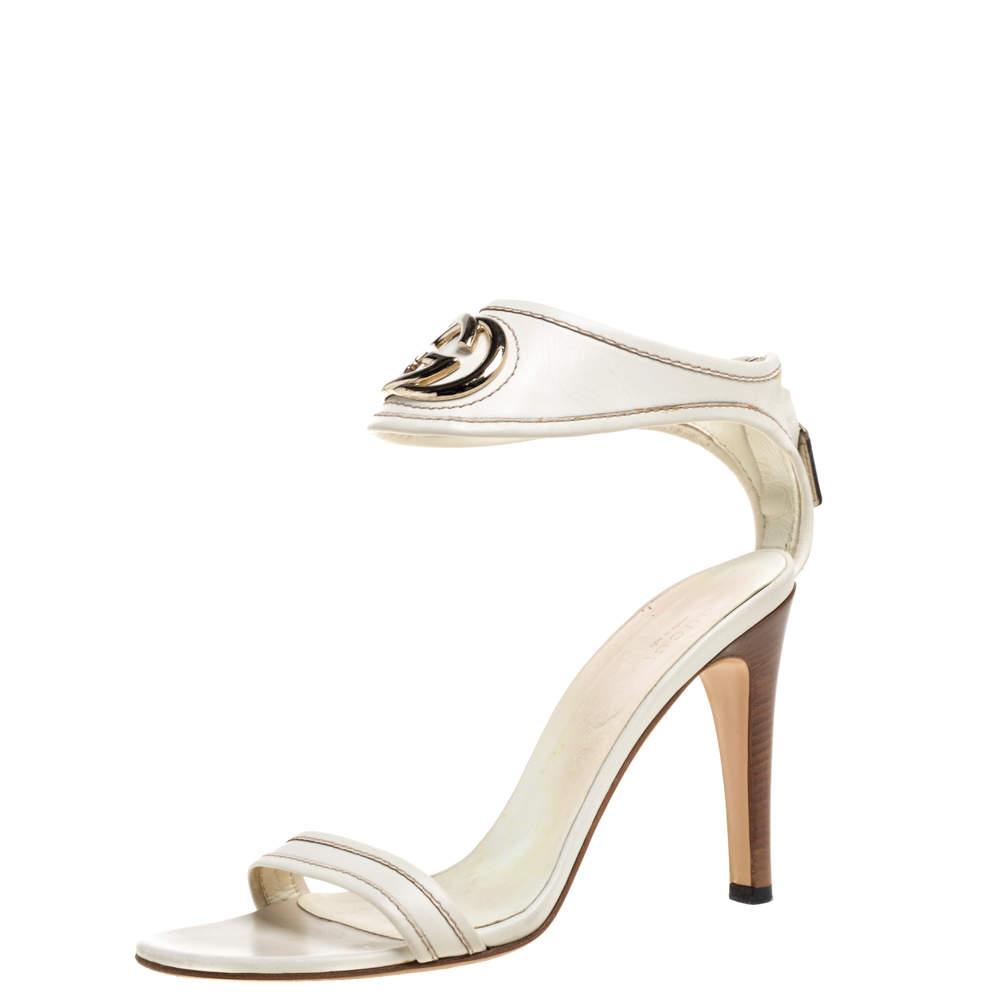 Gucci White Leather GG Interlocking Open Toe Sandals Size 40