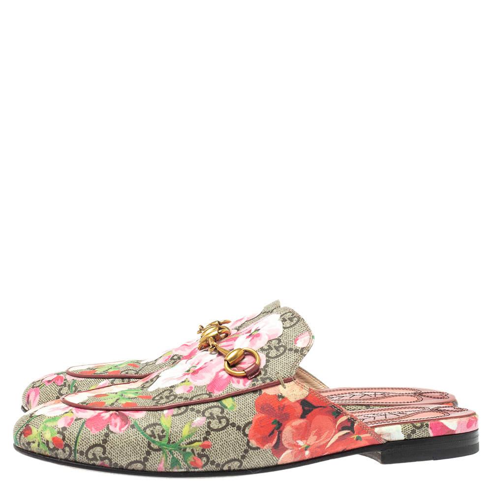 Gucci Multicolor GG Supreme Blooms Canvas Princetown Horsebit Flat Mules Size 37.5