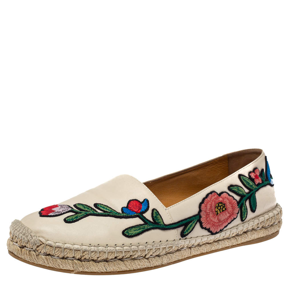 Gucci Cream Floral Embroidered Leather Espadrille Flats Size 39