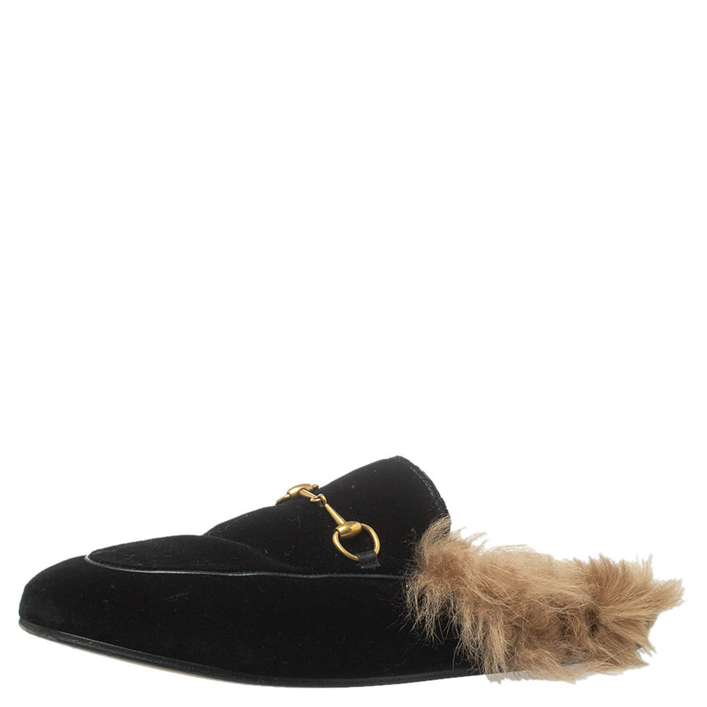 Gucci Black Velvet And Fur Lined Princetown Flat Mules Size 39.5