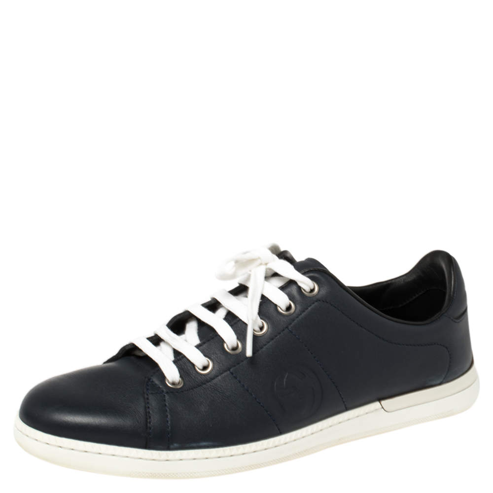 Gucci Navy Blue Leather Low Top Sneakers Size 37.5