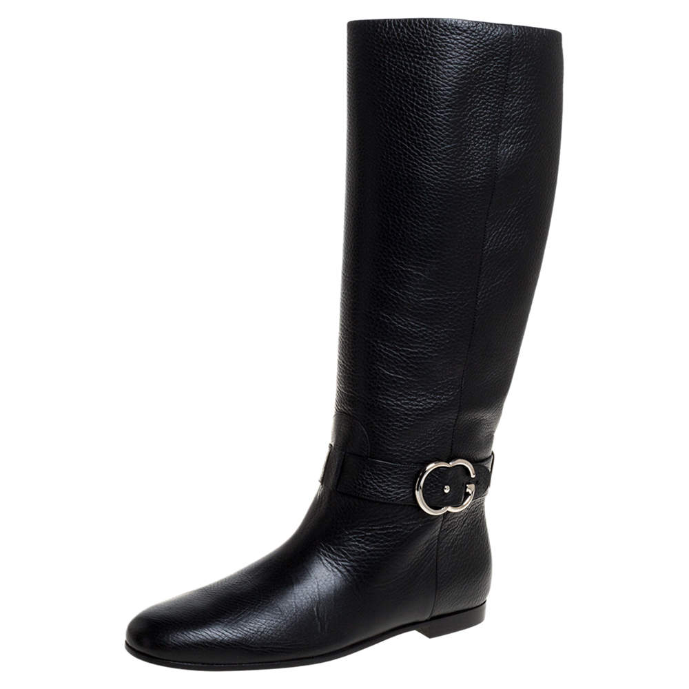 Gucci Black Leather Sachalin Interlocking Double G Riding Boots Size 40