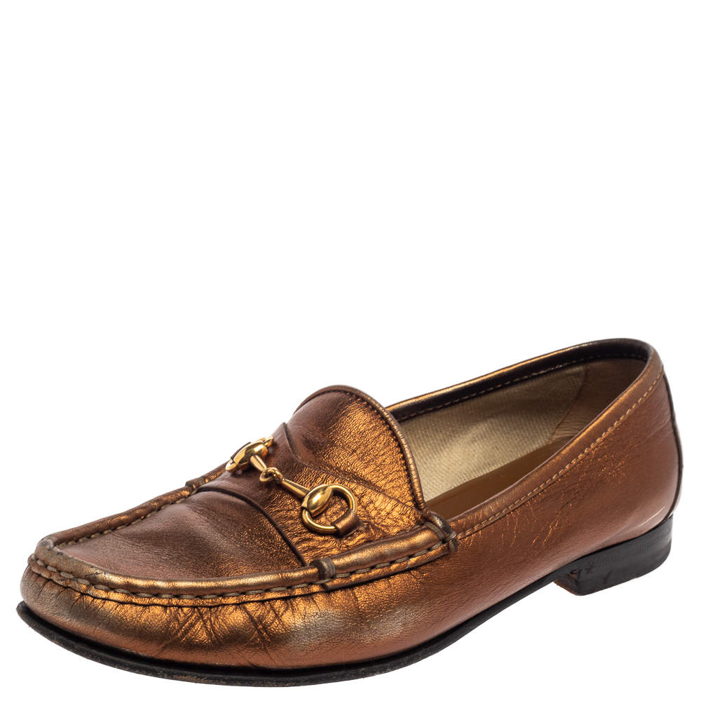 Gucci Metallic Gold Leather Horsebit  Loafers Size 36