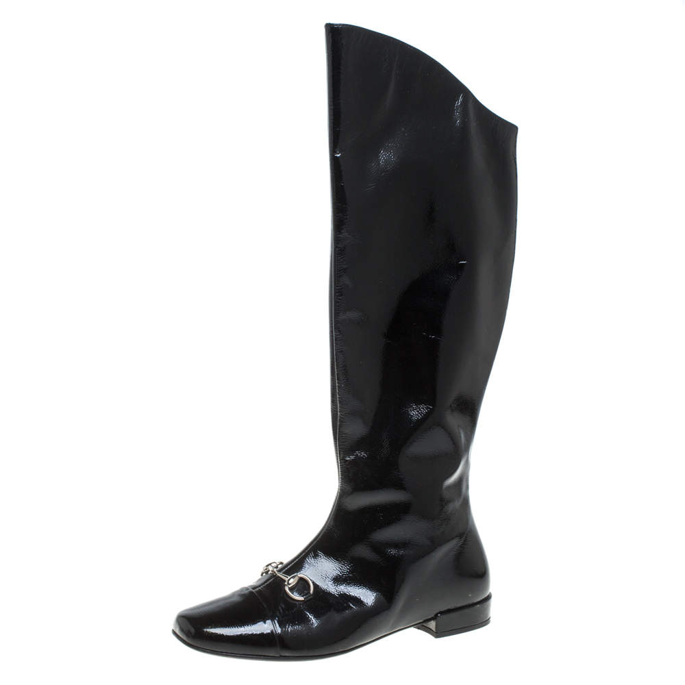 Gucci Black Patent Leather Horse Bit Knee Length Boots Size 35