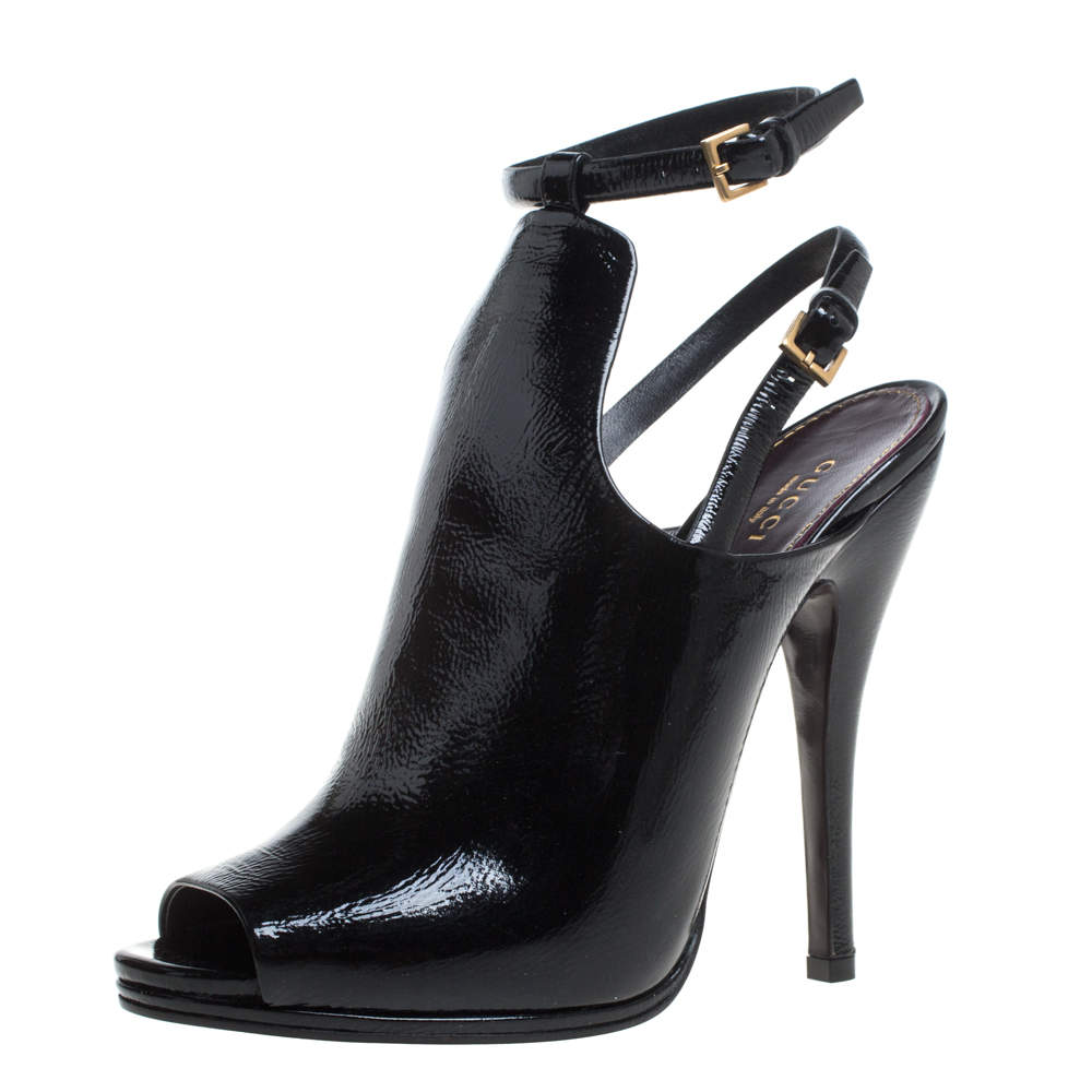 Gucci Black Patent Leather Jane Peep Toe Ankle Strap Booties Size 40