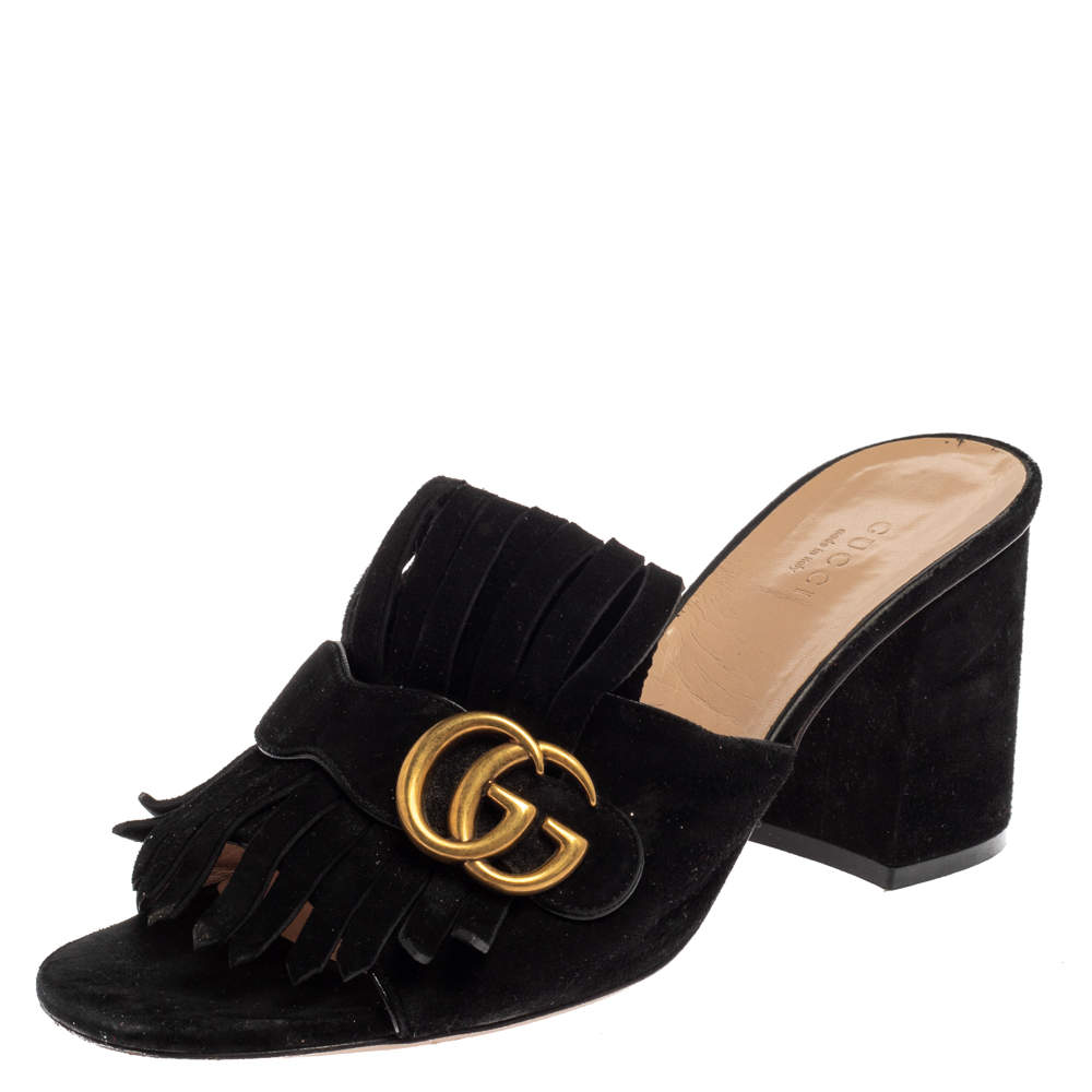 Gucci Black Suede GG Marmont Fringe Sandals Size 39.5