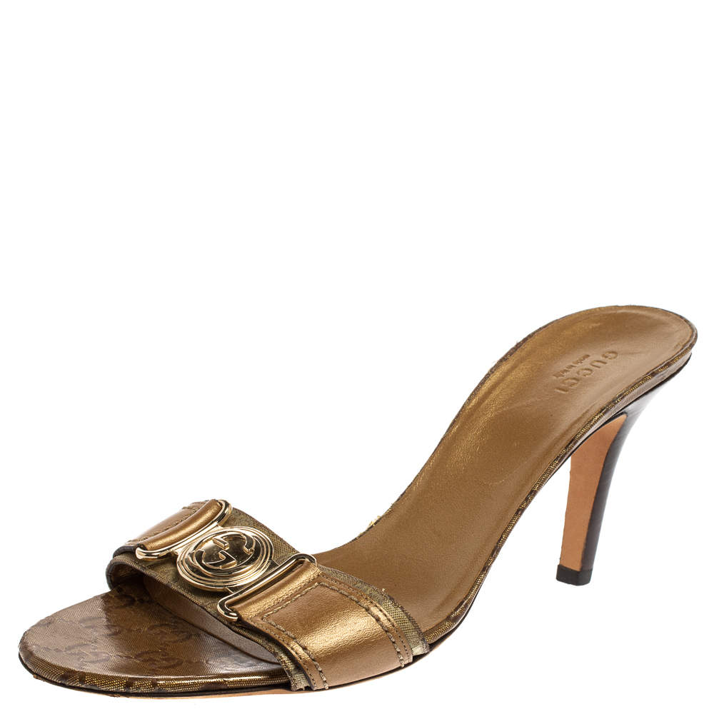 Gucci Gold Leather And Coated Canvas GG Logo Slide Sandals Size 39.5