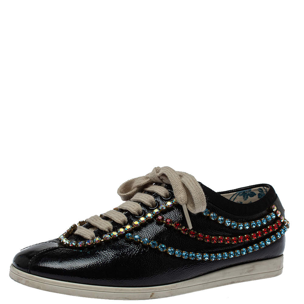 Gucci Black Leather Crystal Trim Sneakers Size 35