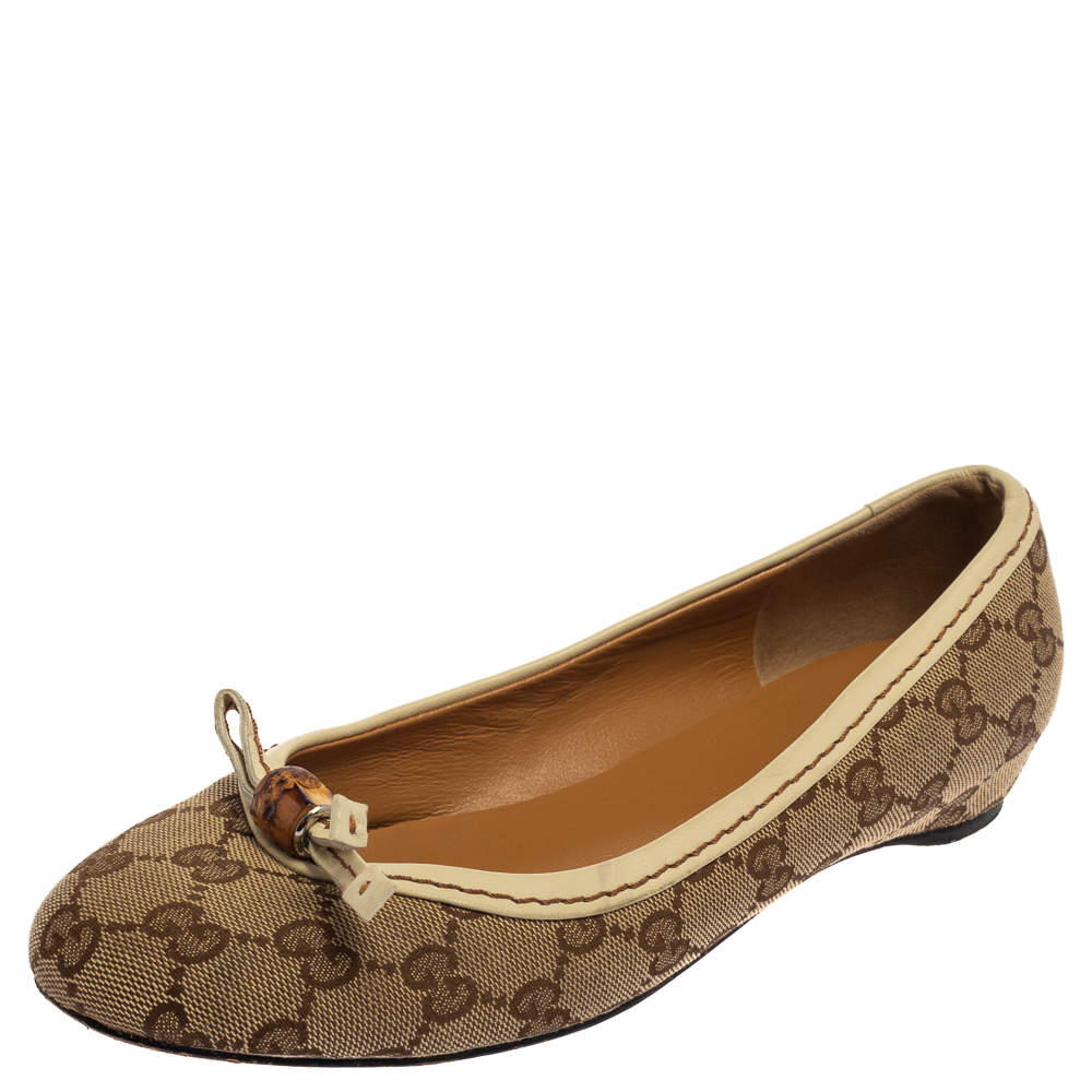 Gucci Brown/Beige GG Canvas Bamboo Tassel Ballet Flats Size 38