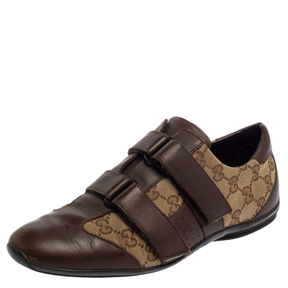 Gucci Brown/Beige GG Canvas and Leather Velcro Sneakers Size 39.5