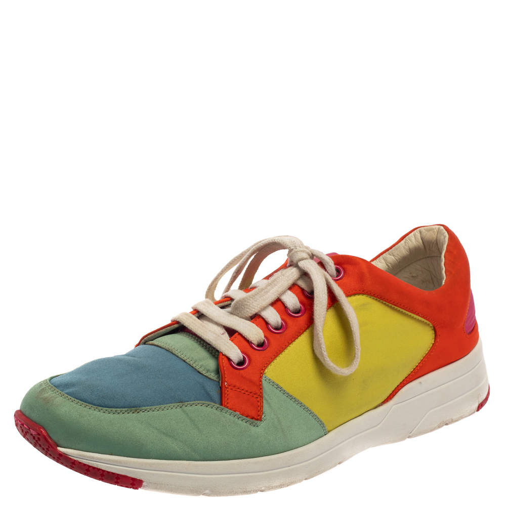Gucci Multicolor Satin Lace Up Sneakers Size 39.5