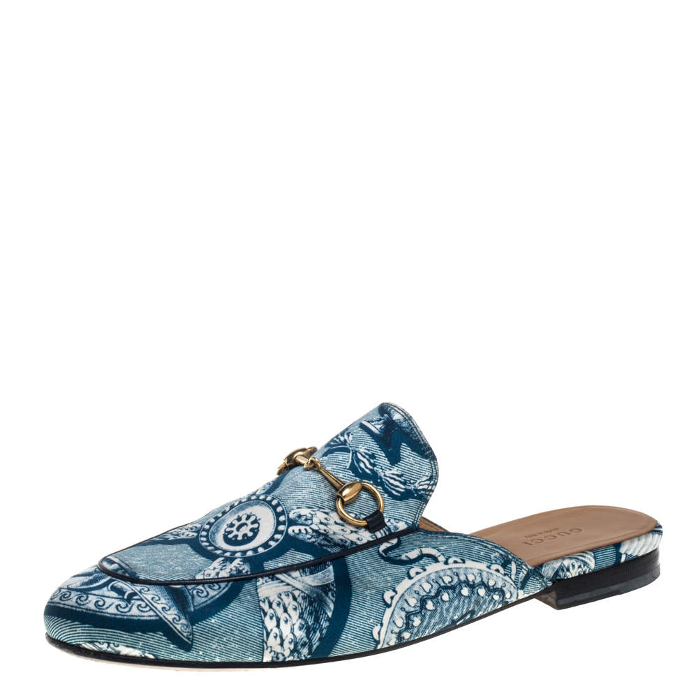 Gucci Blue Satin And Leather Horsebit Princetown Mules Size 39.5
