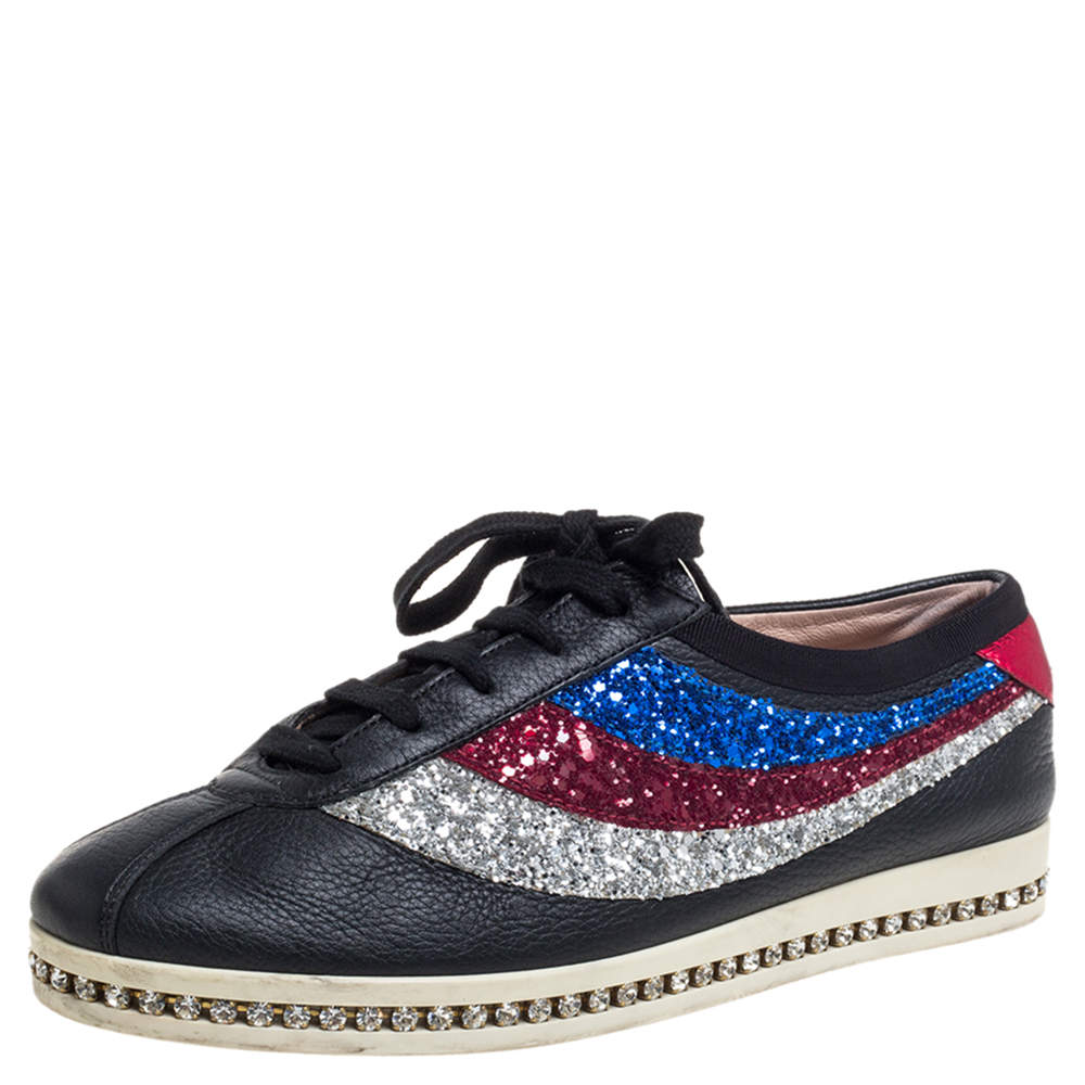 Gucci Multicolor Glitter And Leather Bowler Sneakers Size 37