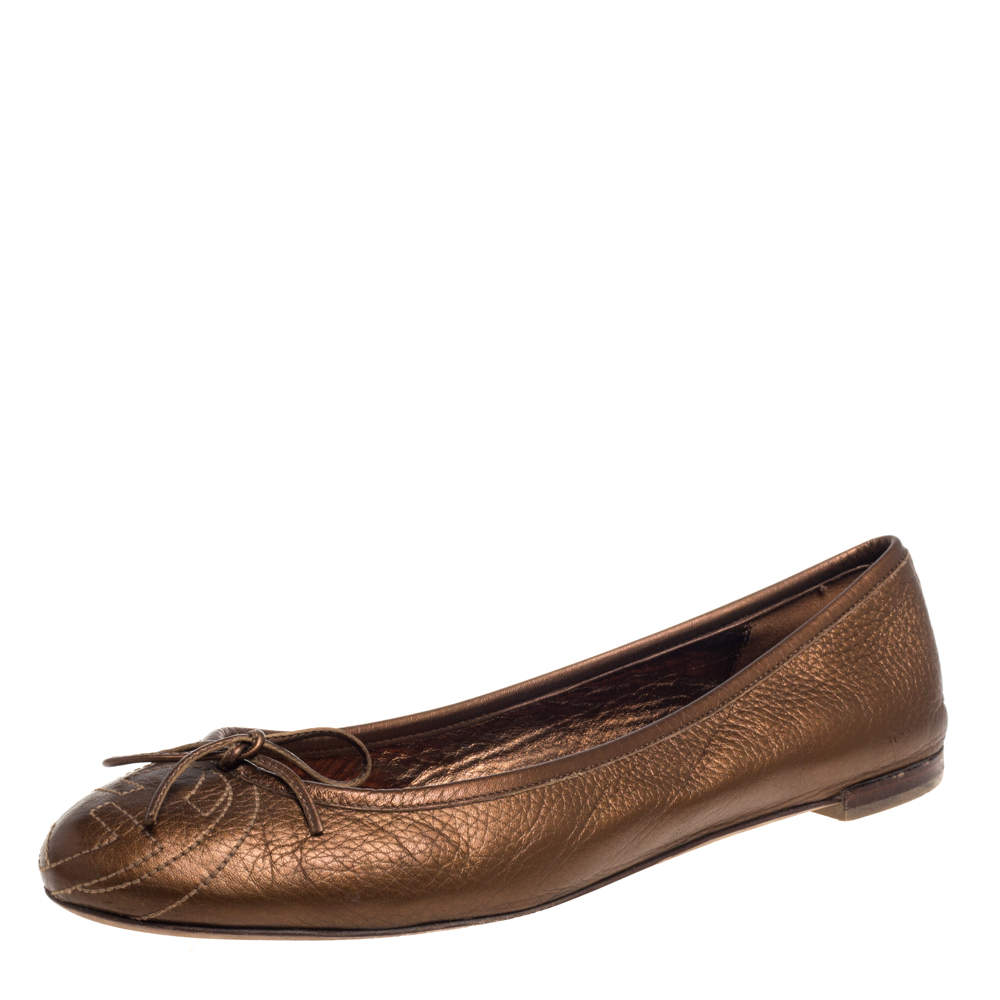 Gucci Metallic Brown Leather Bow Ballet Flats Size 39.5