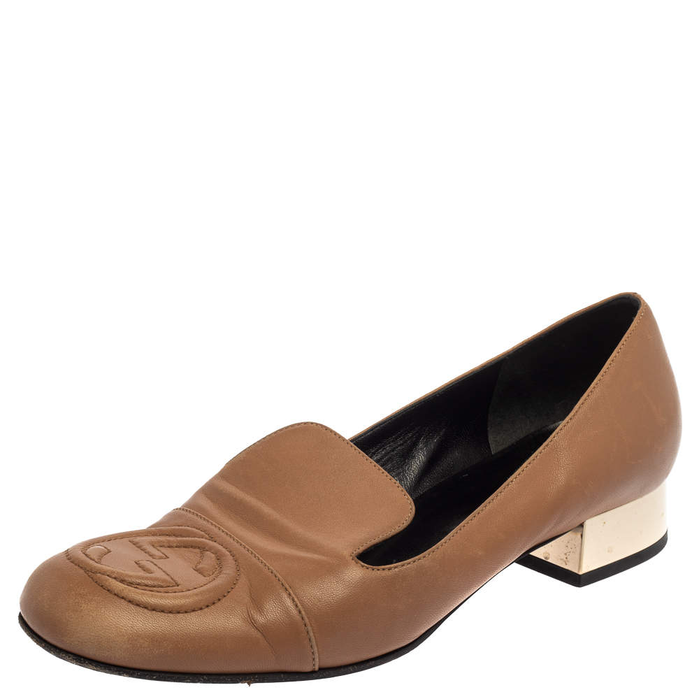 Gucci Brown Leather Soho GG Loafers Size 37