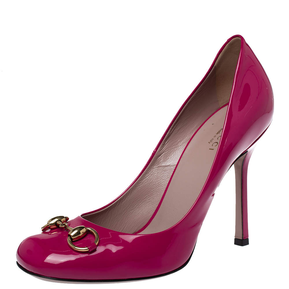 Gucci Pink Patent Leather Jolene Horsebit Pumps Size 39