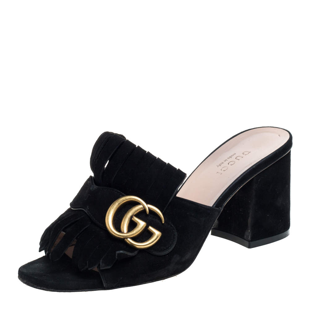 Gucci Black Suede GG Marmont Fringe Mules Size 35.5