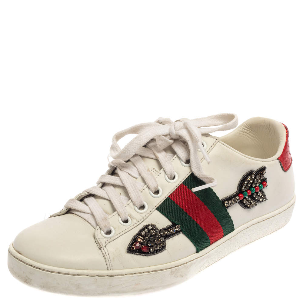 Gucci White Leather Ace Embroidered Arrow Appliqué Low Top Sneakers Size 36