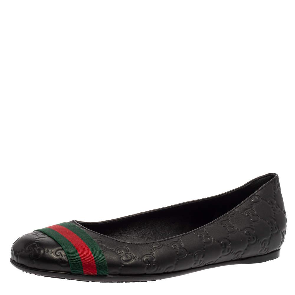 Gucci Black Guccissima Leather Web Stripe Ballet Flats Size 41