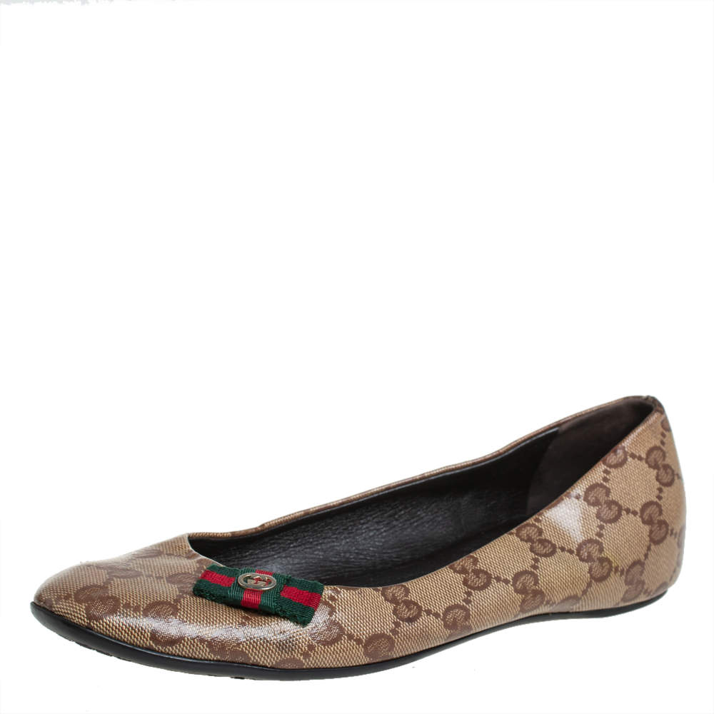 Gucci Brown/Beige GG Crystal Canvas Web Bow Ballet Flats Size 36.5