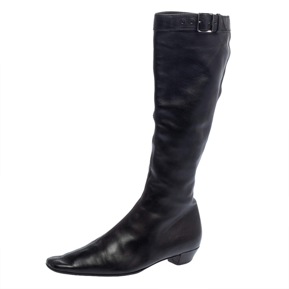 Gucci Black Leather Buckle Detail Square Toe Mid Calf Boots Size 37