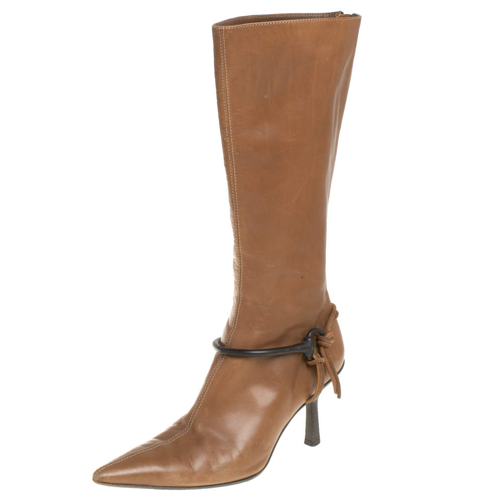 Gucci Brown Leather Mid Calf Signature Horsebit Boots Size 36