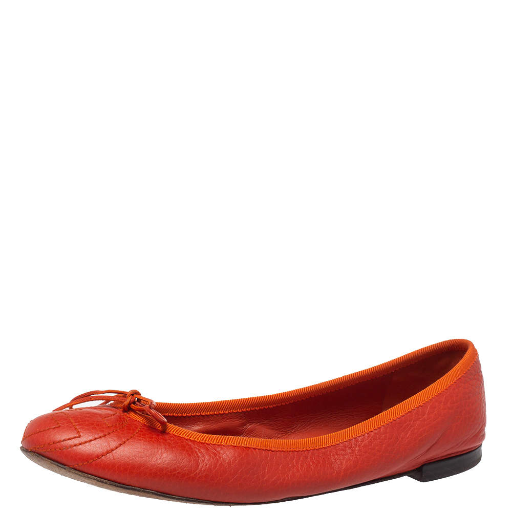 Gucci Orange Leather GG Interlocking  Ballet Flats Size 37