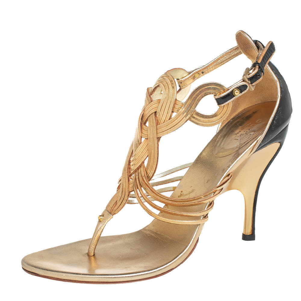 Gucci Gold/Black Patent And Leather Strappy Sandals Size 39
