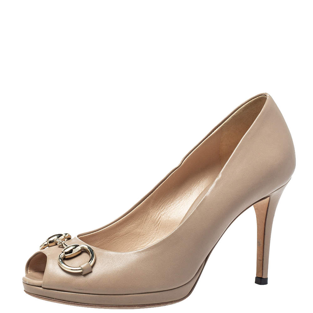Gucci Beige Leather Horsebit Peep Toe Pumps Size 36.5