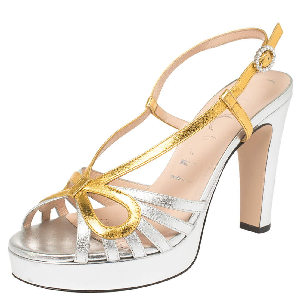 Gucci Gold/Silver Leather Crossed Bow Platform Sandals Size 39