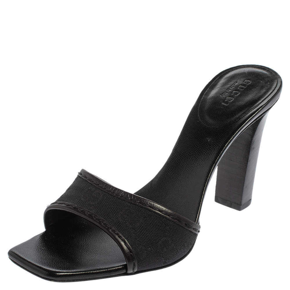Gucci Black GG Canvas And Leather Trim Slide Sandals Size 38.5