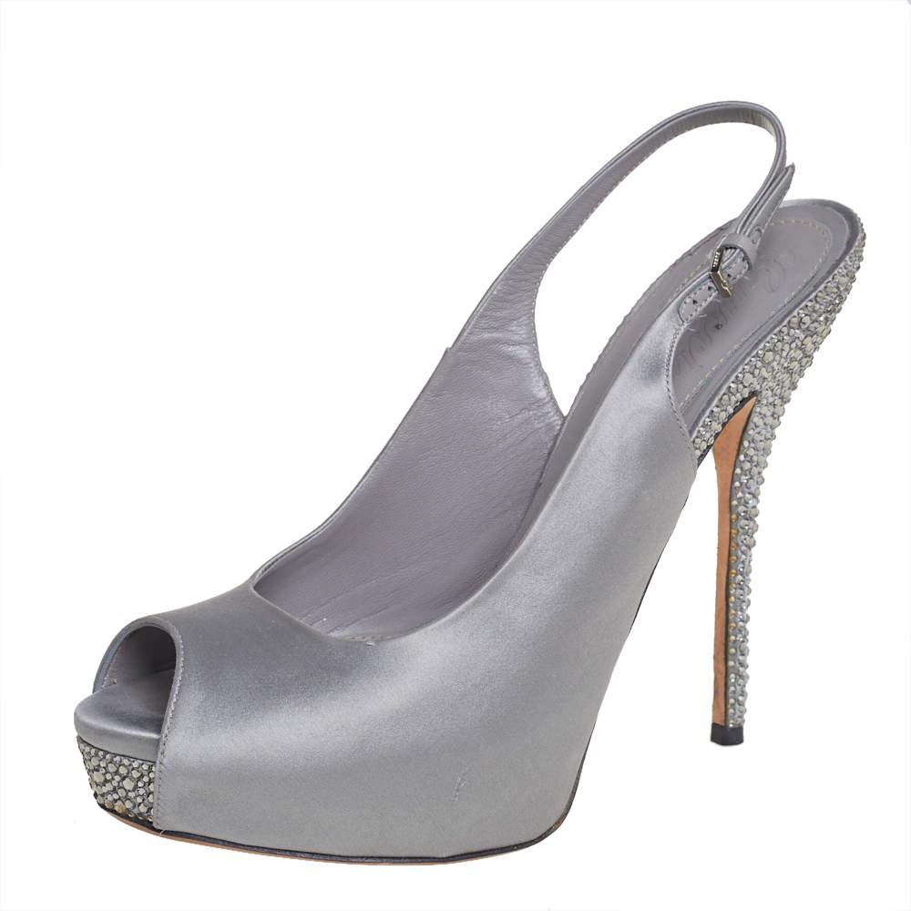 Gucci Grey Satin Crystal Embellished Slingback Sandals Size 38.5